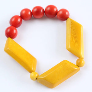 Handmade bracelet, tagua nut, sustainable, yellow, orange
