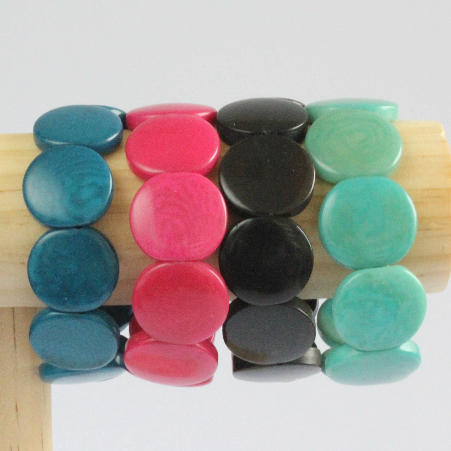 Handmade bracelet, tagua nut, sustainable,  colourful