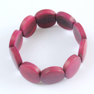 Handmade bracelet, tagua nut, sustainable,  colourful, burgundy