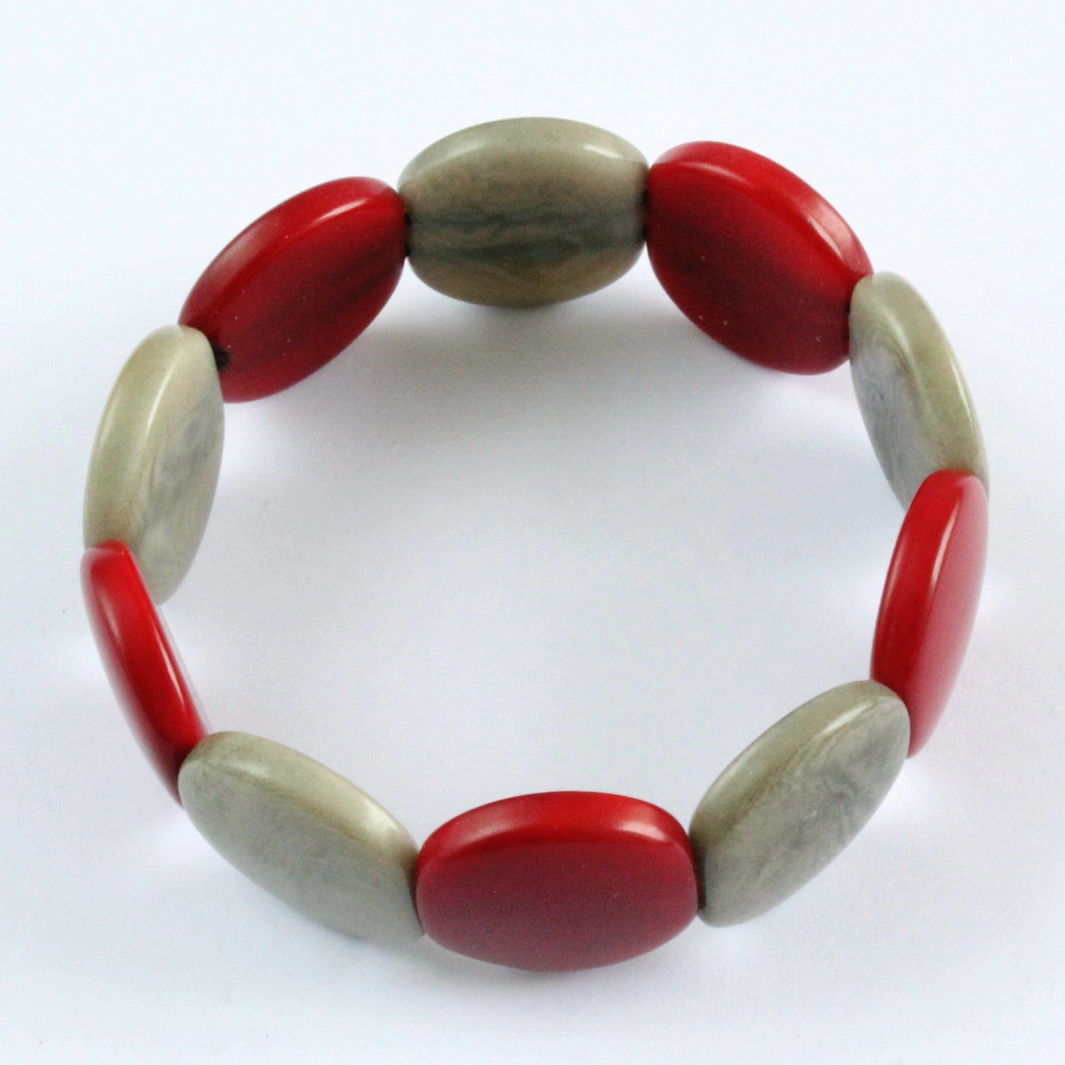 Handmade bracelet, tagua nut, sustainable,  colourful, red, grey