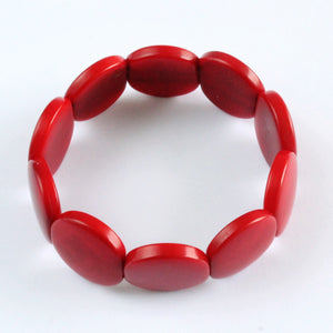 Handmade bracelet, tagua nut, sustainable,  colourful, red