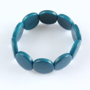 Handmade bracelet, tagua nut, sustainable,  colourful, teal