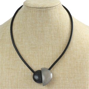 Handmade necklace, tagua nut, black grey, magnetic
