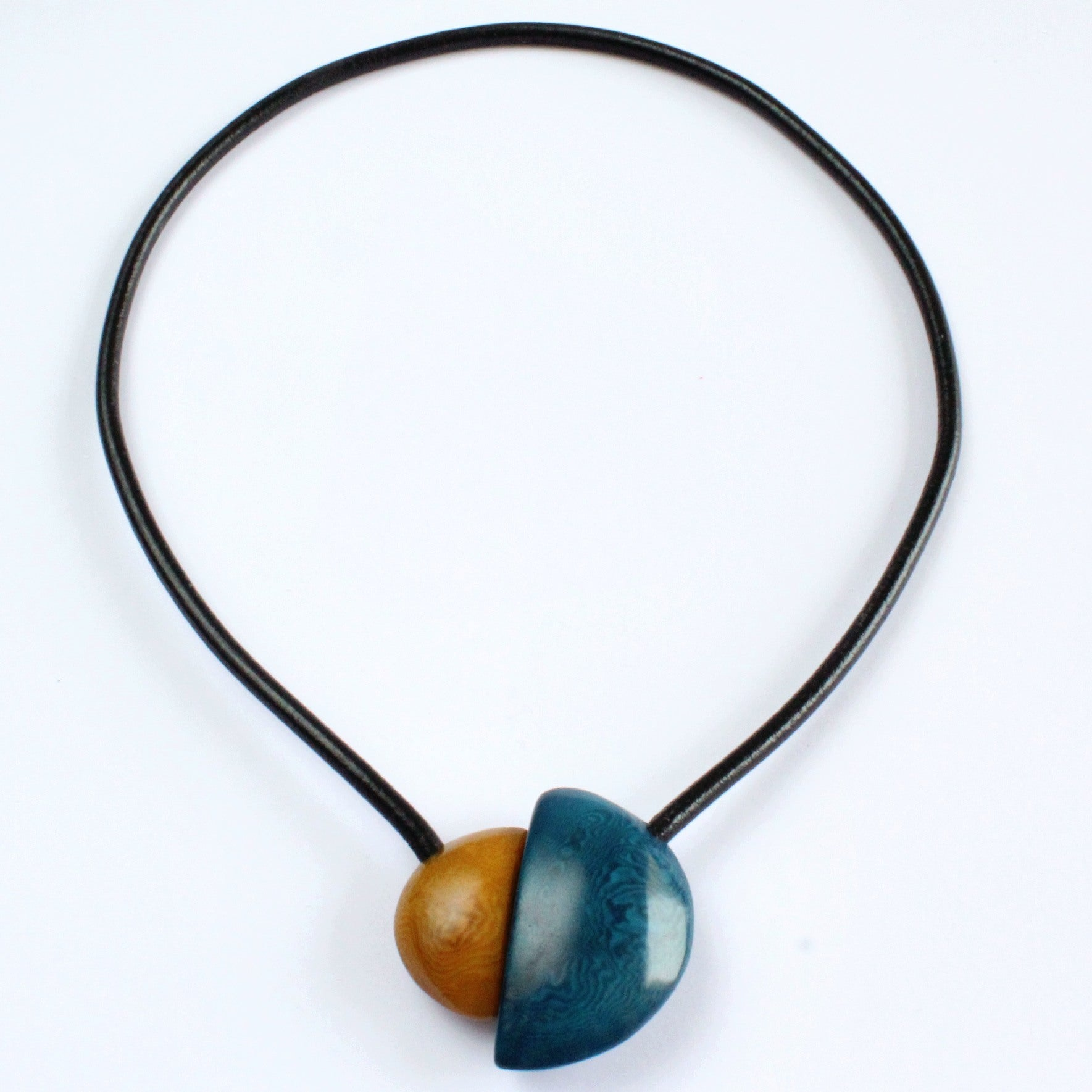 Handmade necklace, tagua nut, blue beige, magnetic