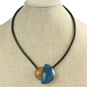 Handmade necklace, tagua nut, blue beige, stand, magnetic