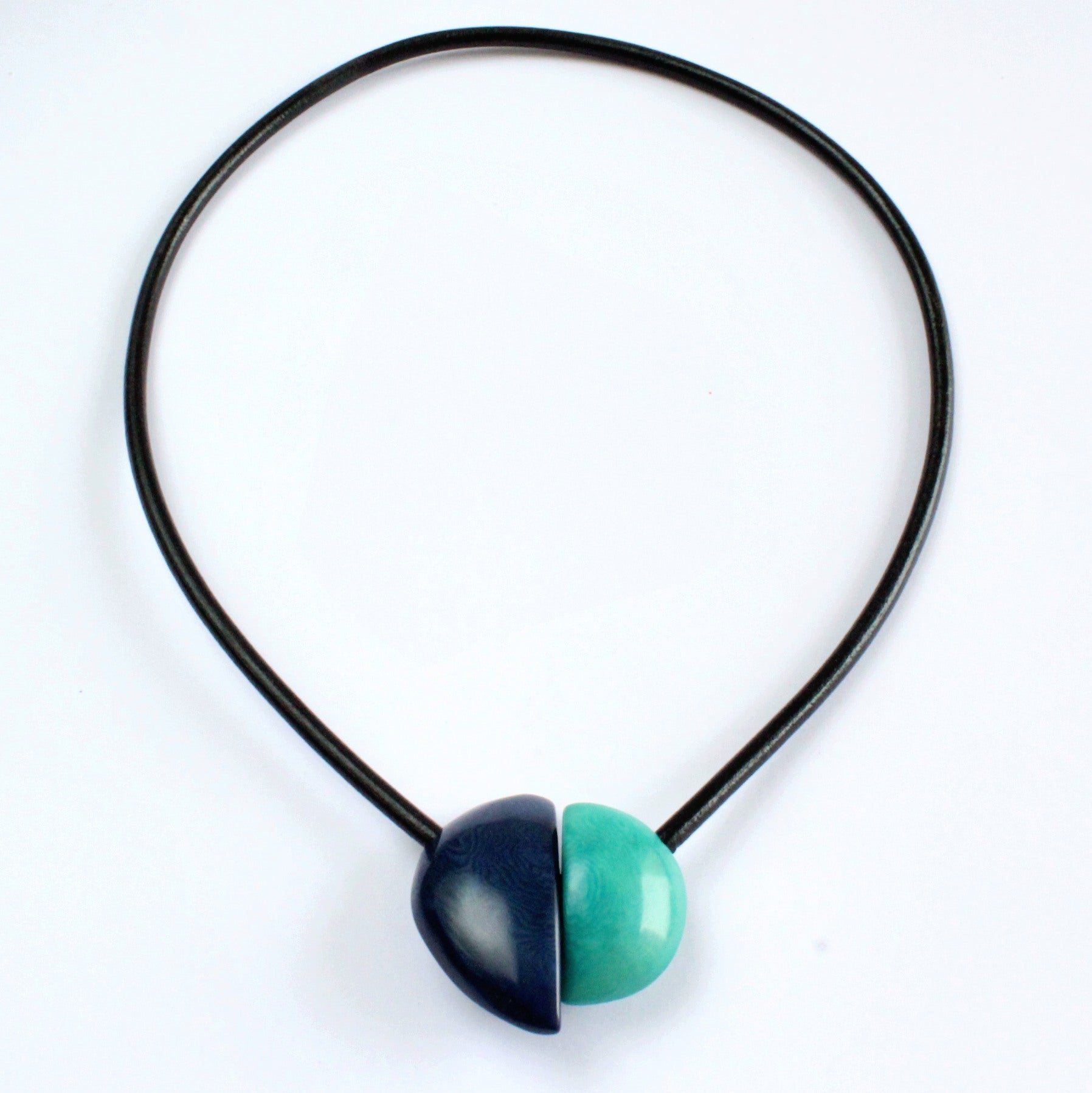 Handmade necklace, tagua nut, blue turquoise, magnetic