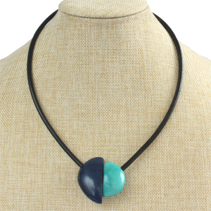 Handmade necklace, tagua nut, blue turquoise, stand, magnetic