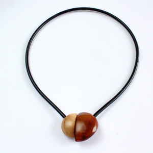 Handmade necklace, tagua nut, brown beige, magnetic
