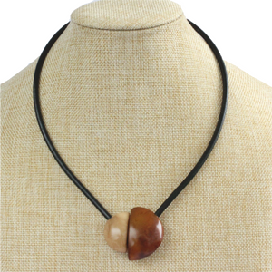 Handmade necklace, tagua nut, brown beige, stand, magnetic