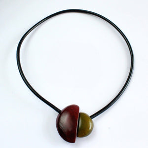 Handmade necklace, tagua nut, burgundy olive, magnetic