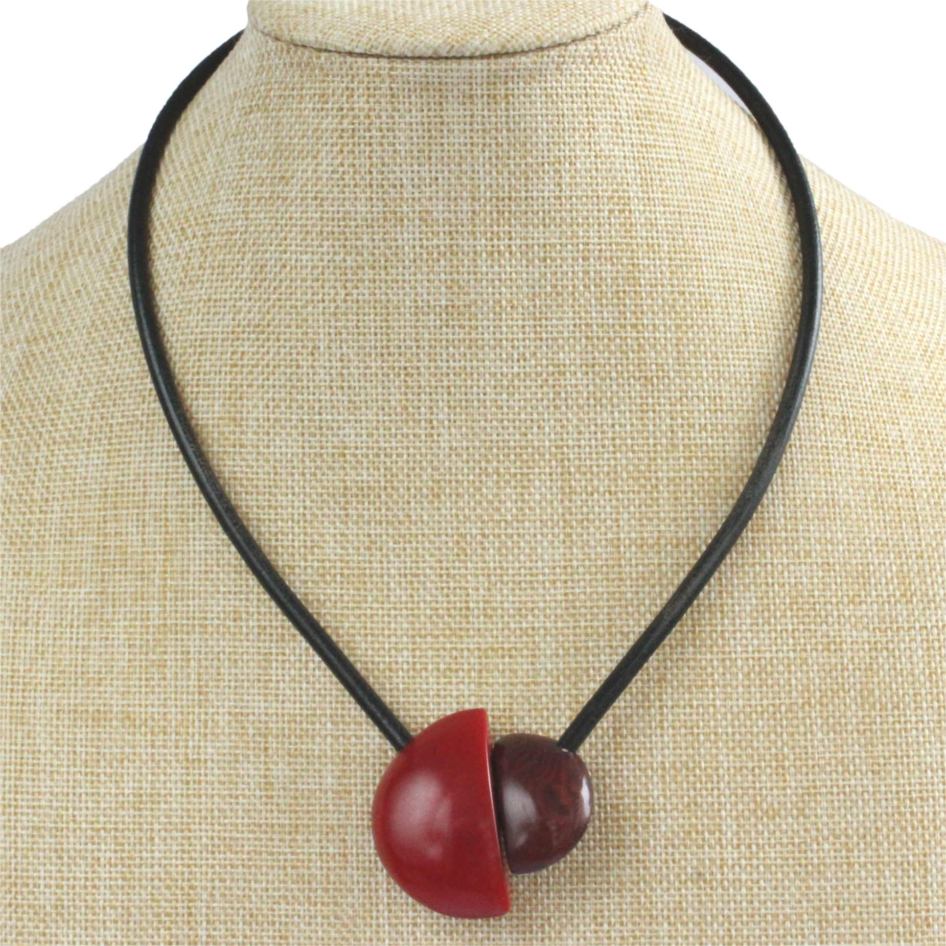 Handmade necklace, tagua nut, red maroon, stand, magnetic