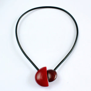 Handmade necklace, tagua nut, red maroon, magnetic