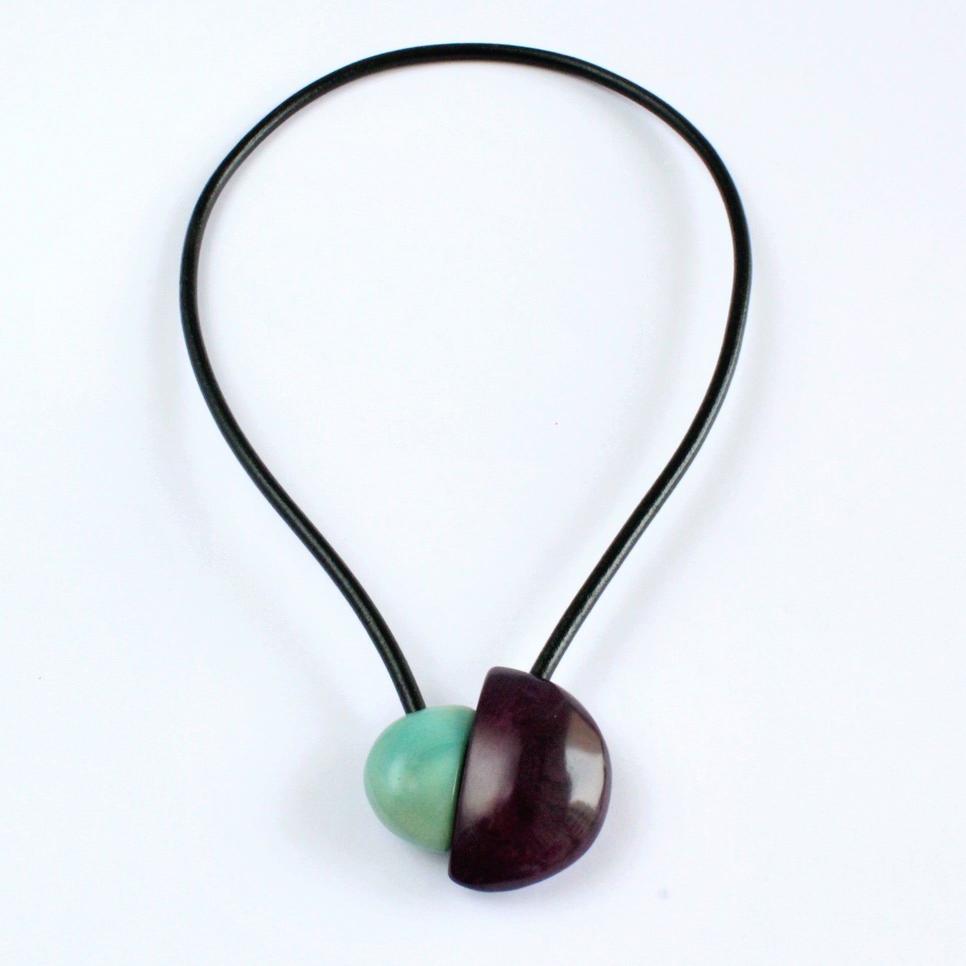 Handmade necklace, tagua nut, turquoise purple, magnetic