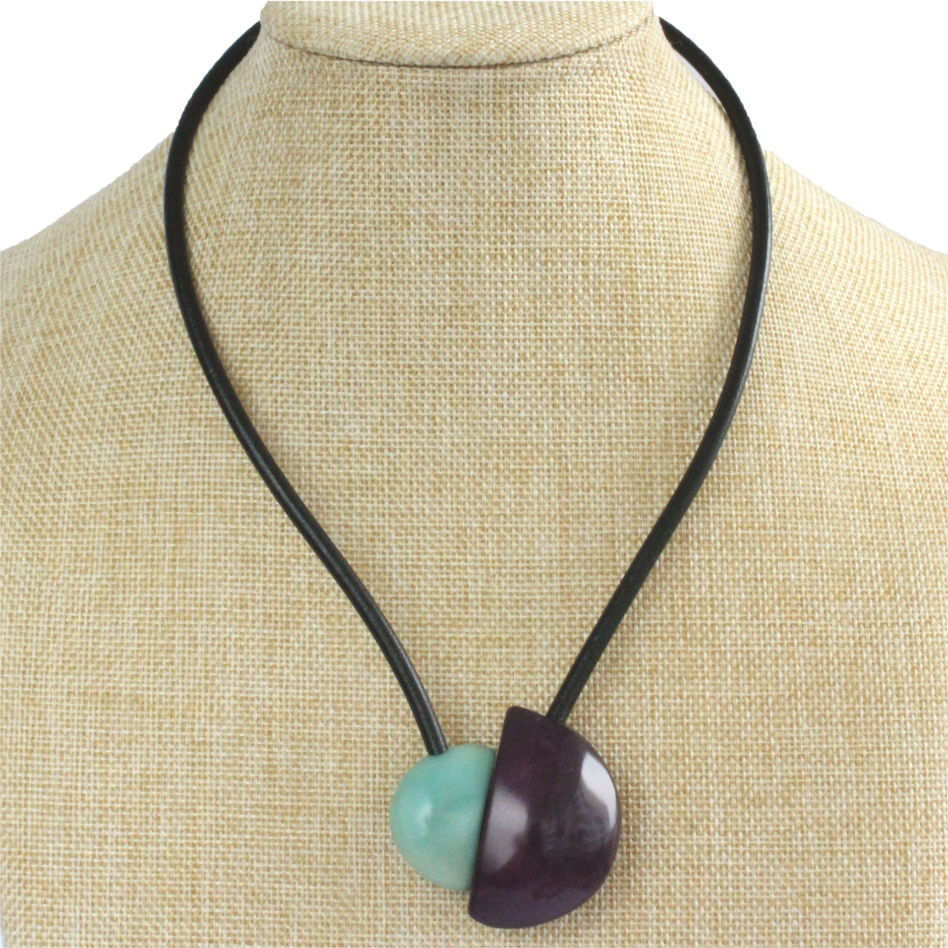 Handmade necklace, tagua nut, turquoise purple, stand, magnetic