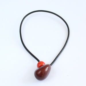 Handmade necklace, tagua nut, sustainable, magnet, burgundy