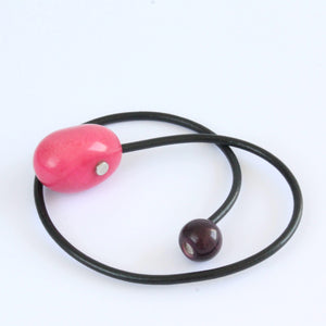 Handmade necklace, tagua nut, sustainable, magnet, pink