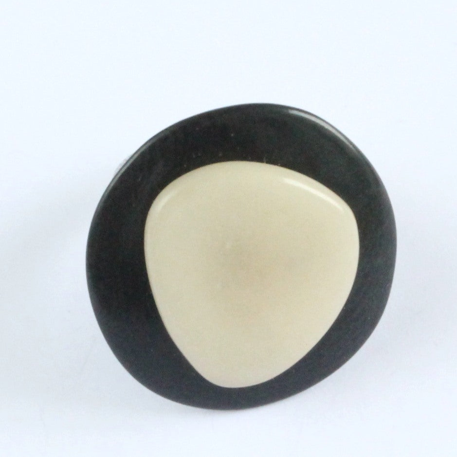 Handmade ring, tagua nut, adjustable ring size, black and white