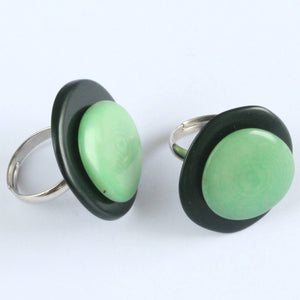 Handmade ring, tagua nut, adjustable ring size, green
