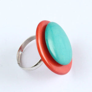 Handmade ring, tagua nut, adjustable ring size, orange and turquoise