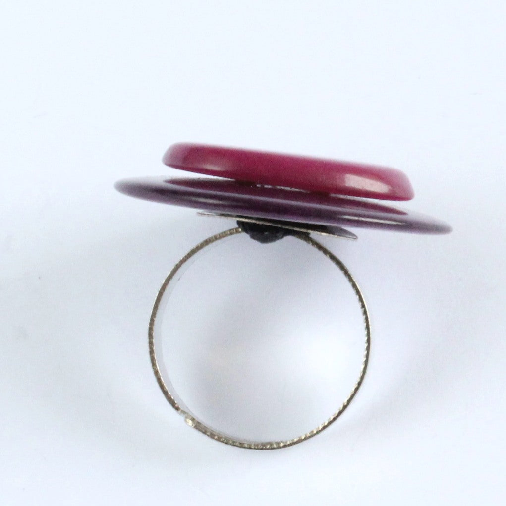 Handmade ring, tagua nut, adjustable ring size, purple and fuchsia