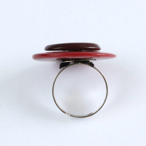 Handmade ring, tagua nut, adjustable ring size, red