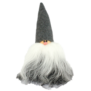 Handmade Santa, grey cap, black and white beard, sheepskin
