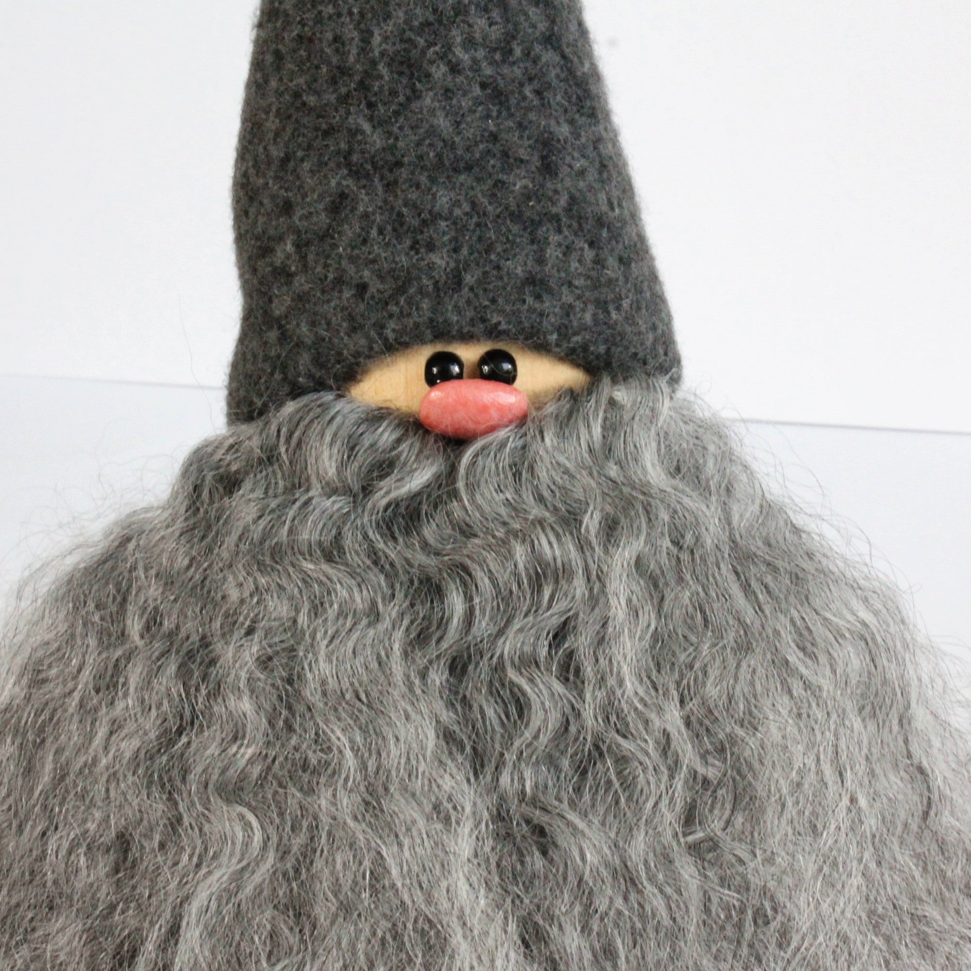 Handmade Santa, grey cap, curly grey beard, sheepskin