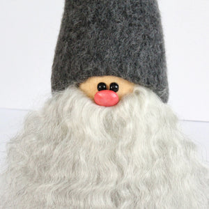 Handmade Santa, grey cap, white beard, sheepskin