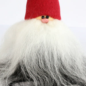 Handmade Santa, red cap, black and white beard, sheepskin