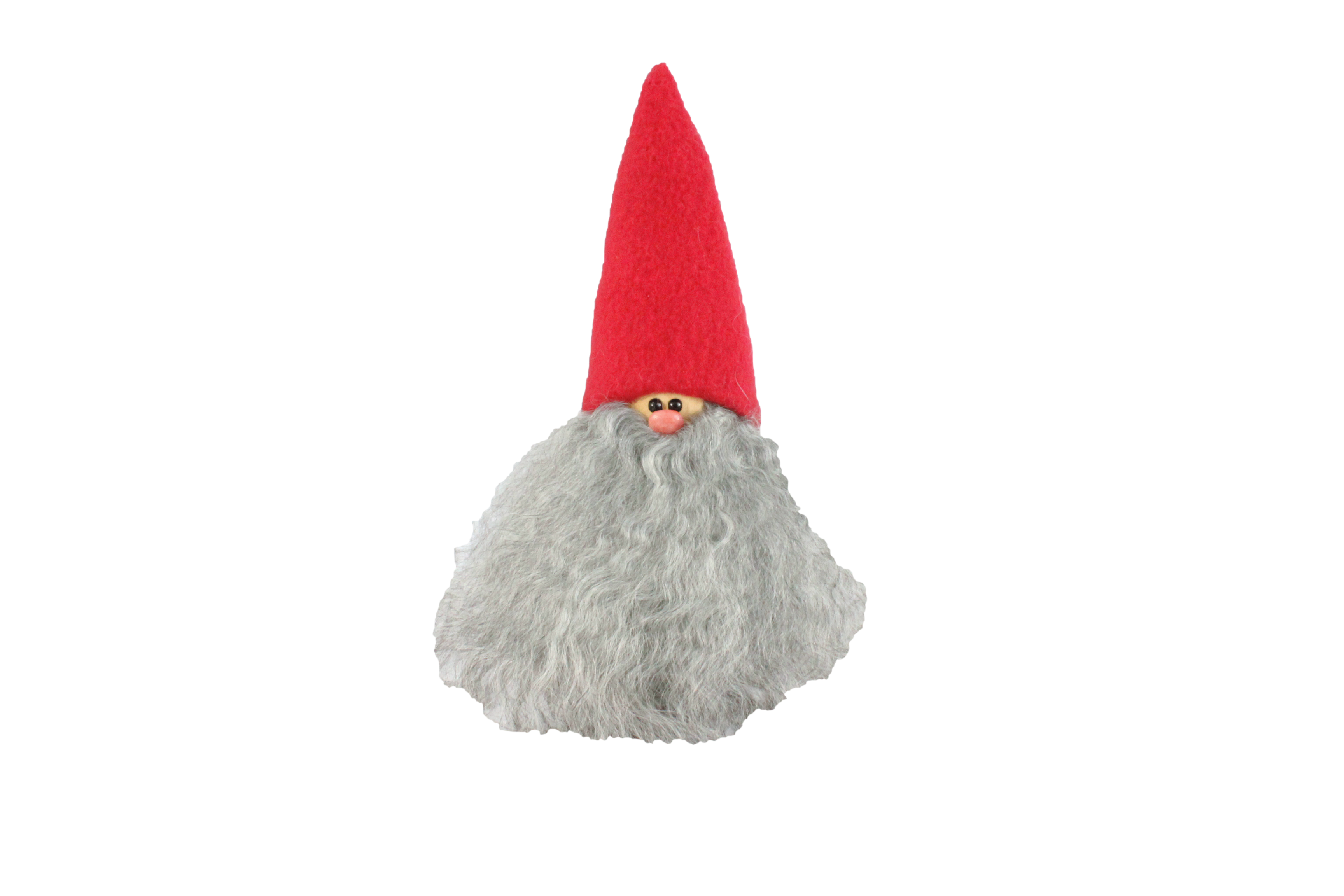 Handmade Santa, red cap, grey beard, sheepskin