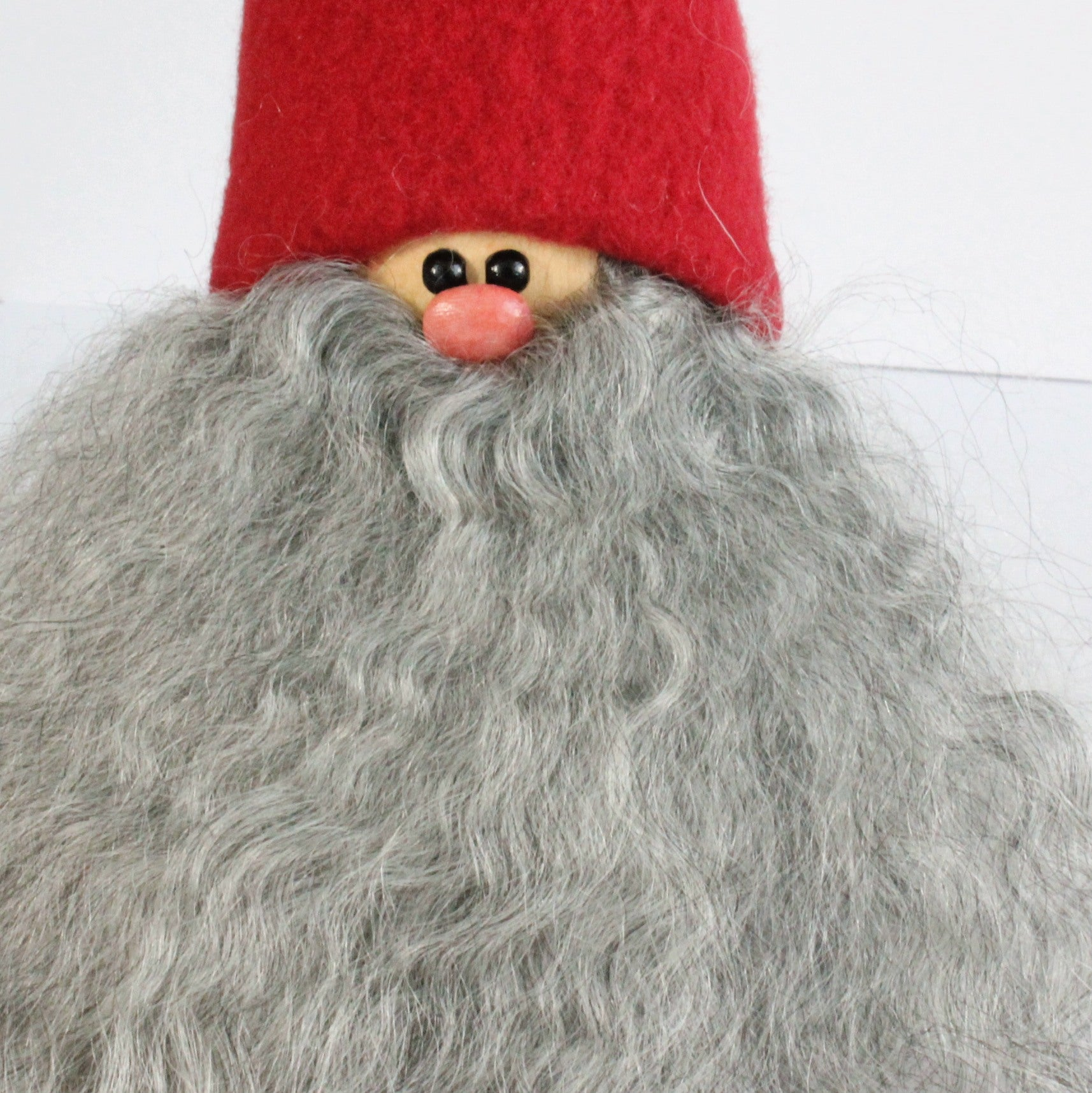 Handmade Santa, red cap, curly grey beard, sheepskin