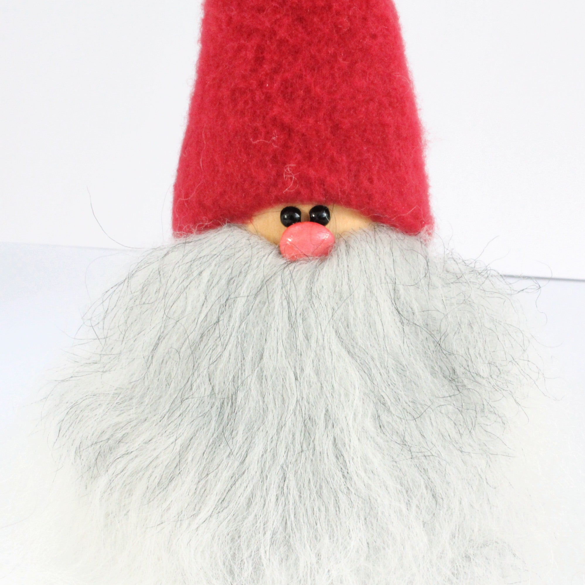 Handmade Santa, red cap, white grey beard, sheepskin