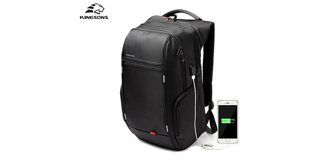 Kingsons Anti-Theft 15.6 Inch USB Charging Waterproof Backpack