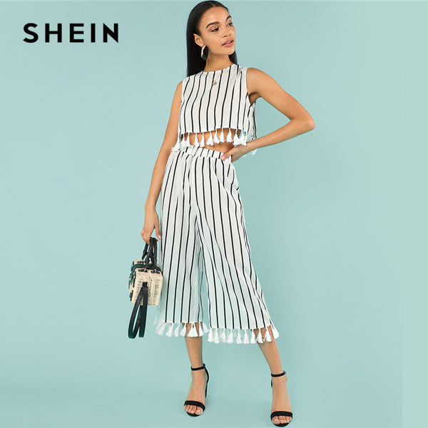 Woman Vacation Twopiece Tassel Trim Striped Shell Top And Culotte Pants Set