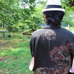 <TUTAE> Haori1016  black with bird and flower