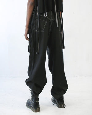 DOUBLE PLEAT PANT IN BLACK CONTRAST - SHOP NOT DEAD YET