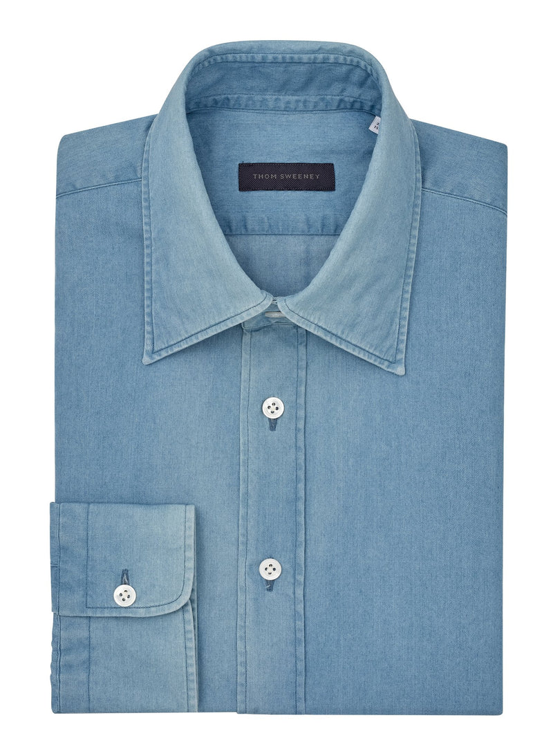 Light Chambray Point Collar Shirt