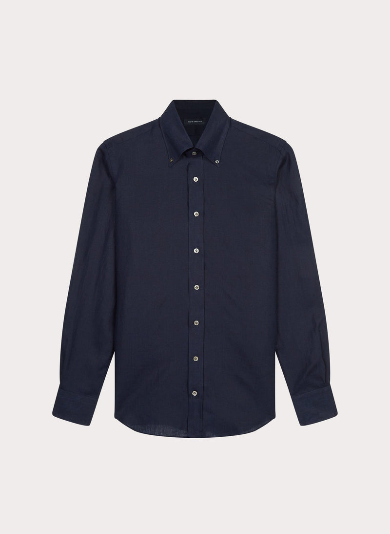 Linen Button Down Shirt With Pocket - Navy