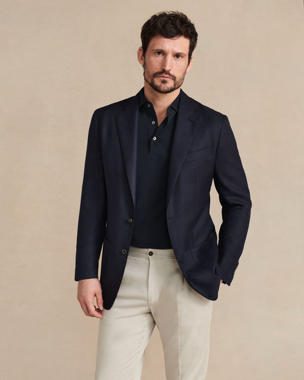 Single-Breasted Hopsack Blazer - Jacket