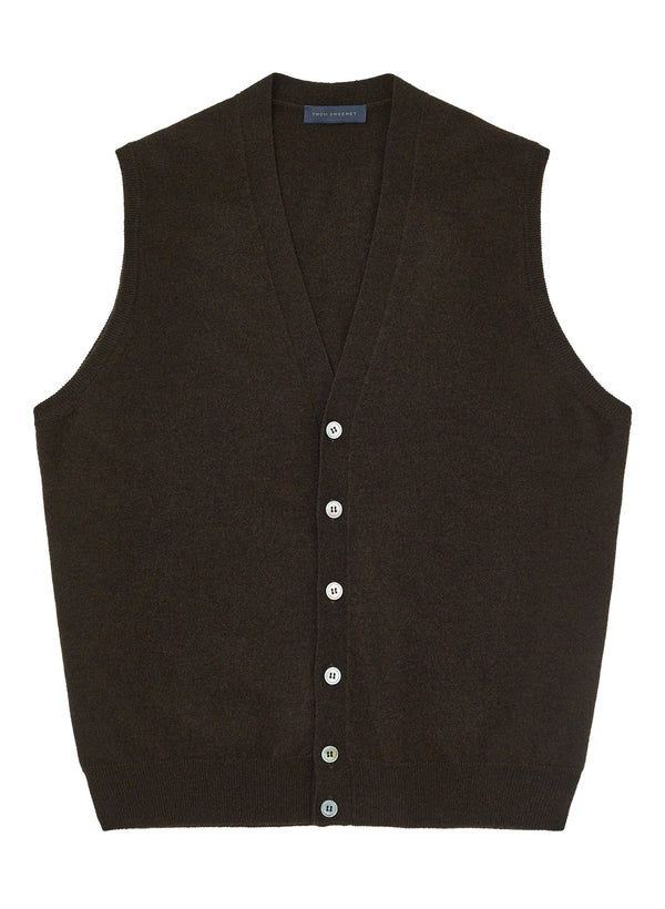 Sleeveless Cardigan -  Brown