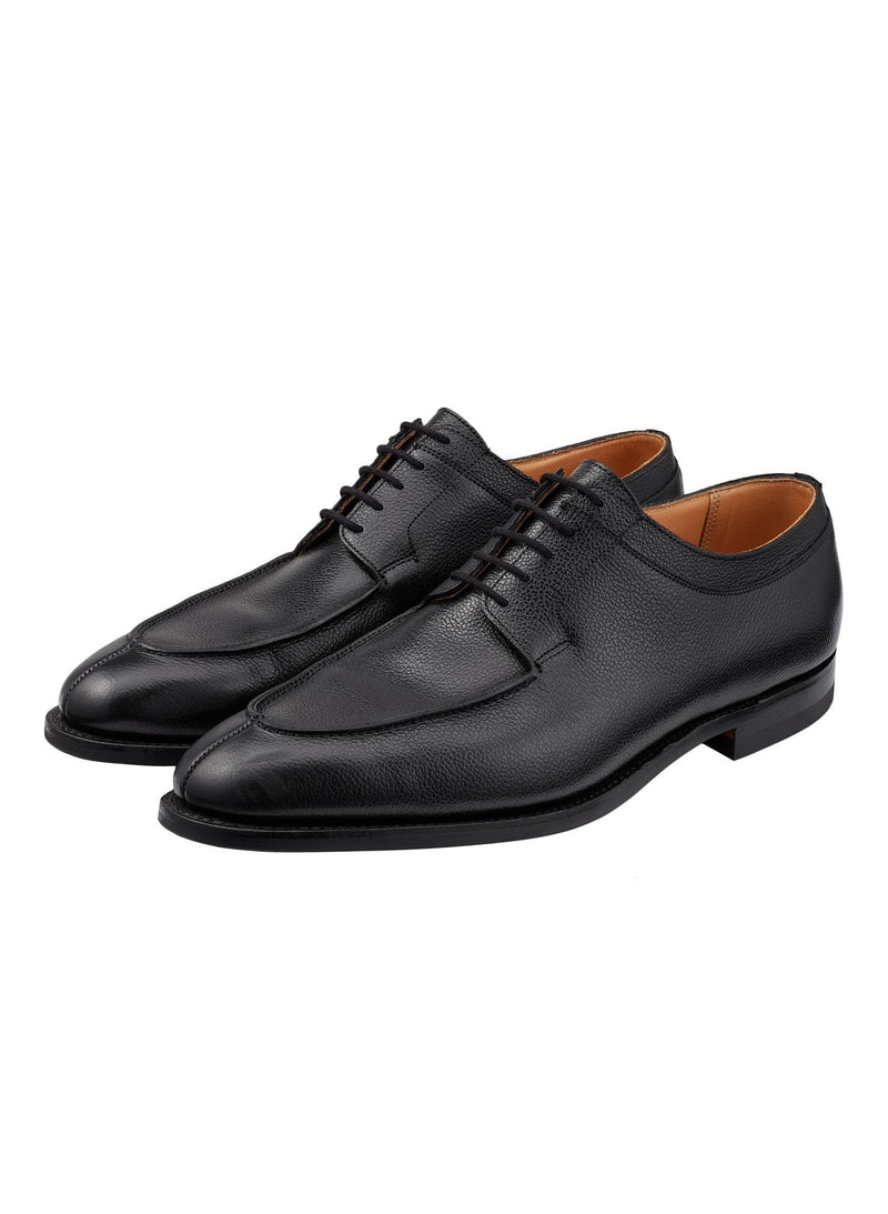 Pebble Grain Split Toe Derby Shoes - Black
