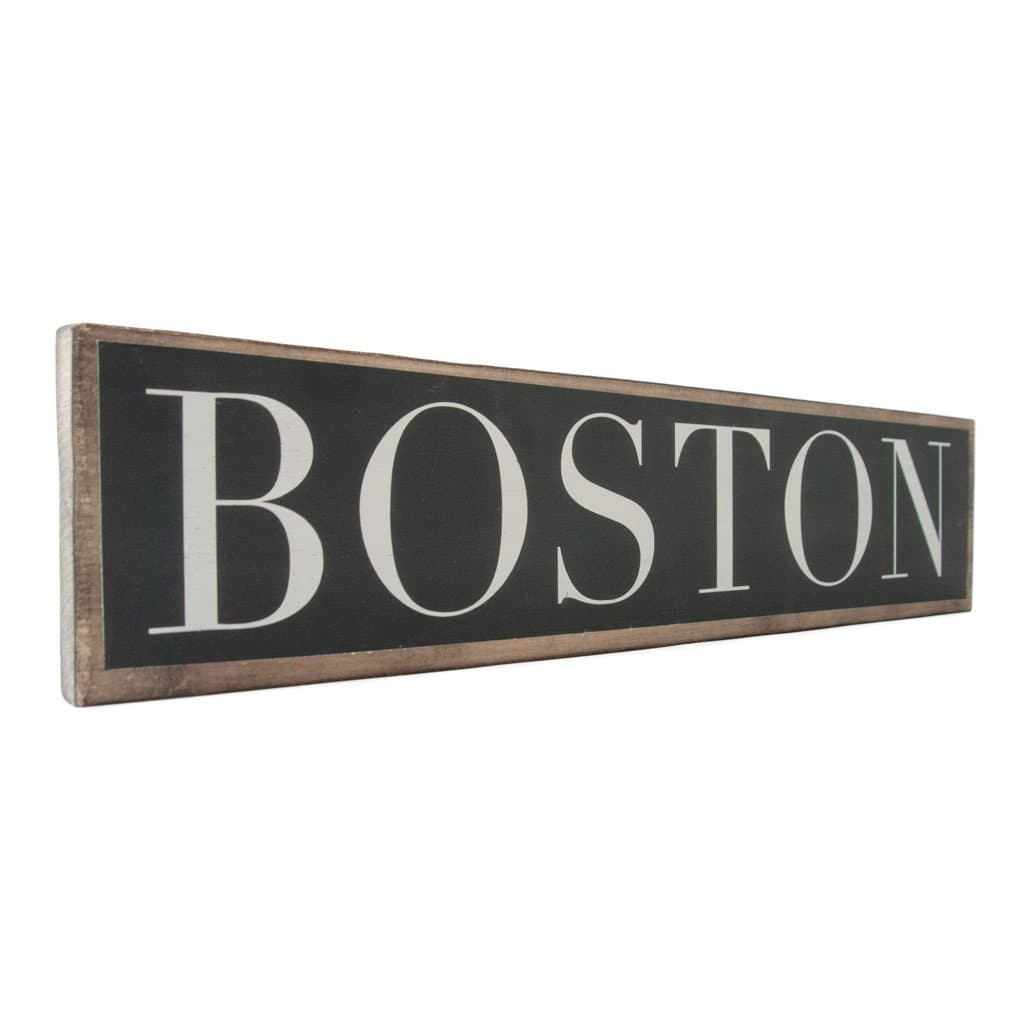 Boston - Black & White - Wall Décor - Wood Sign
