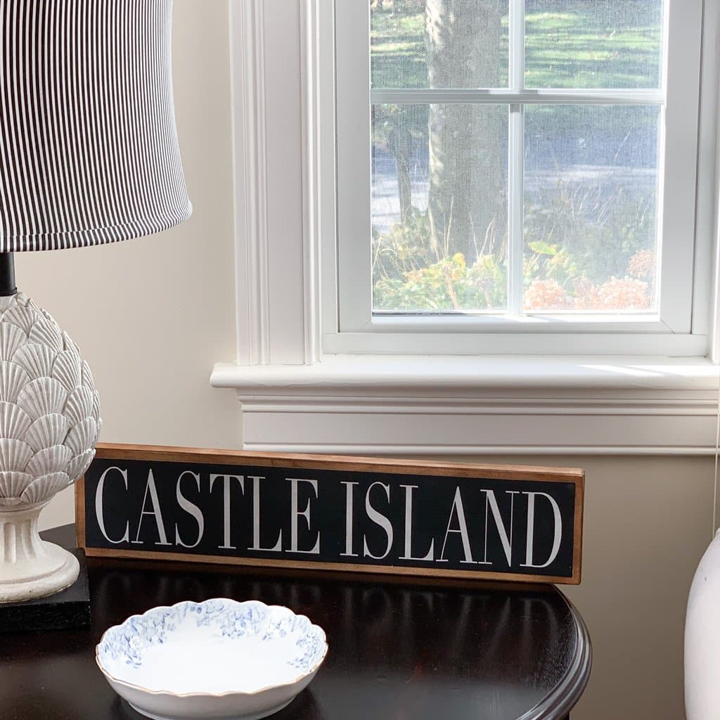 Castle Island- Black & White - Wall Décor - Wood Sign