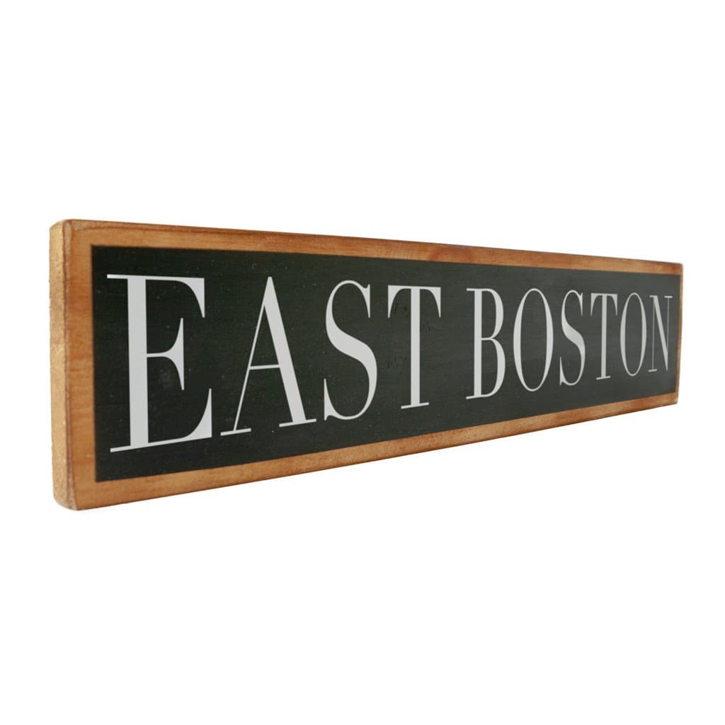 East Boston - Black & White - Wall Décor - Wood Sign
