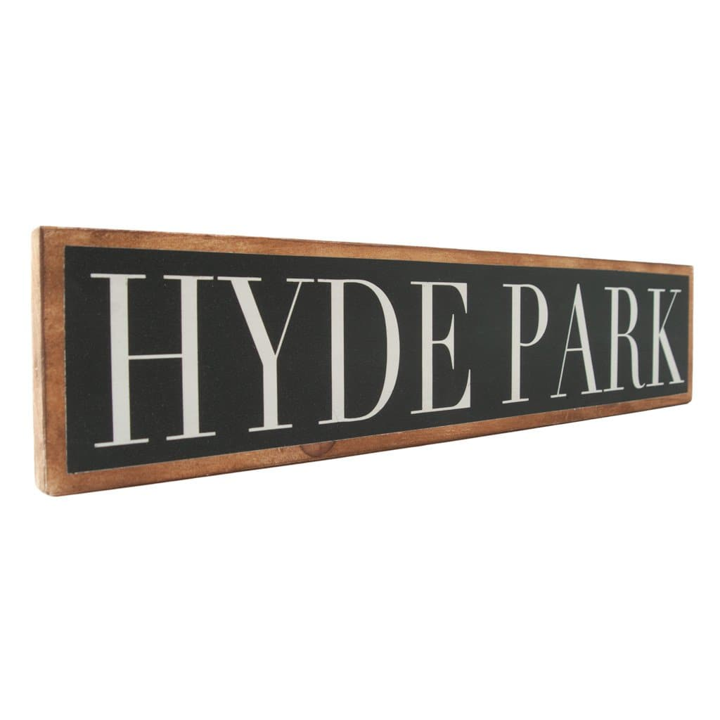 Hyde Park - Black & White - Wall Décor - Wood Sign