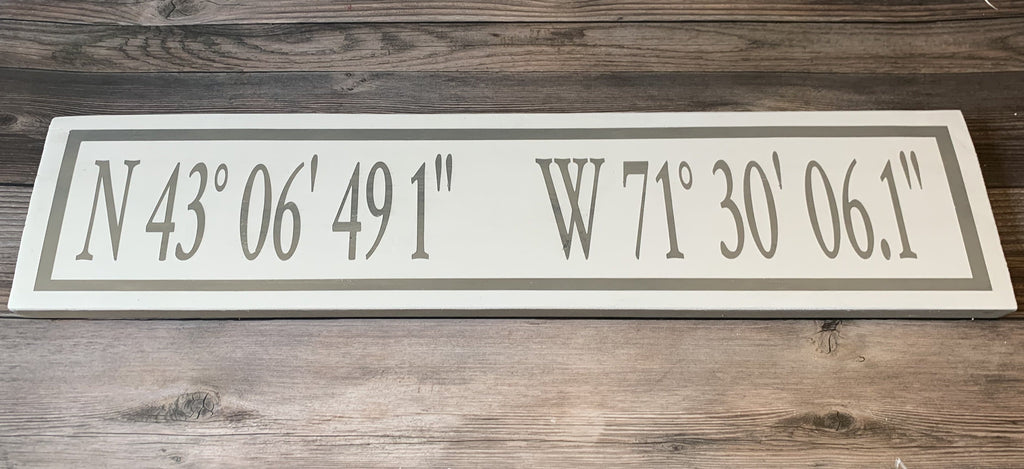 Lat / Long Custom Sign