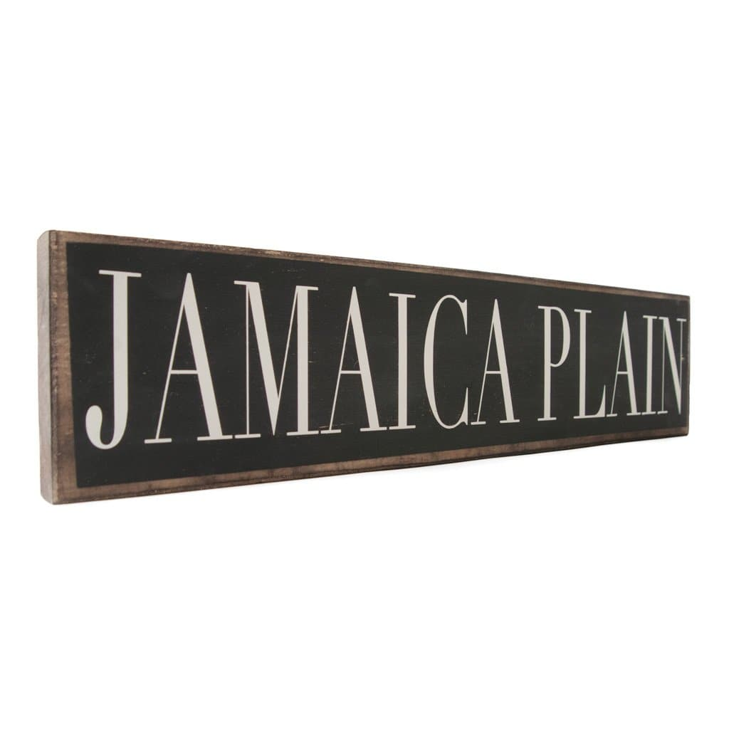 Jamaica Plain - Black & White - Wall Décor - Wood Sign