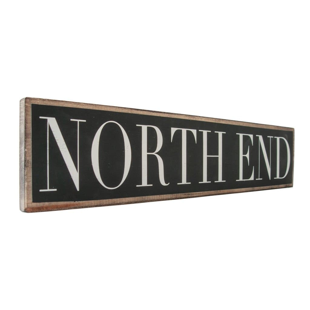North End - Black & White - Wall Décor - Wood Sign