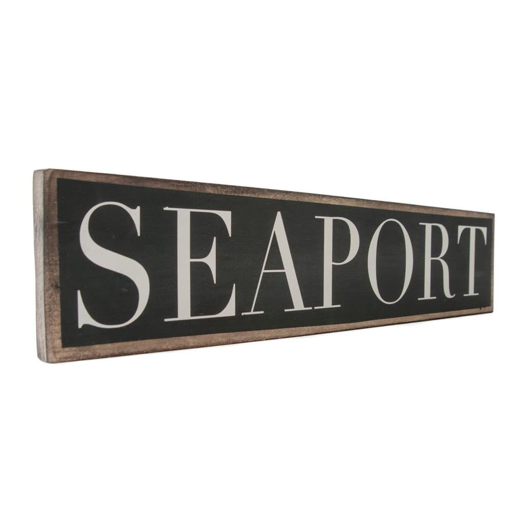 Seaport - Black & White - Wall Décor - Wood Sign