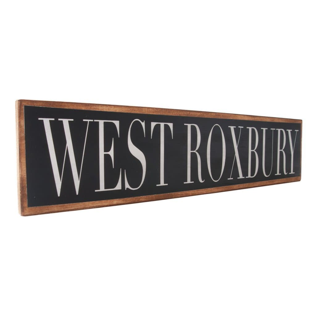 West Roxbury - Black & White - Wall Décor - Wood Sign